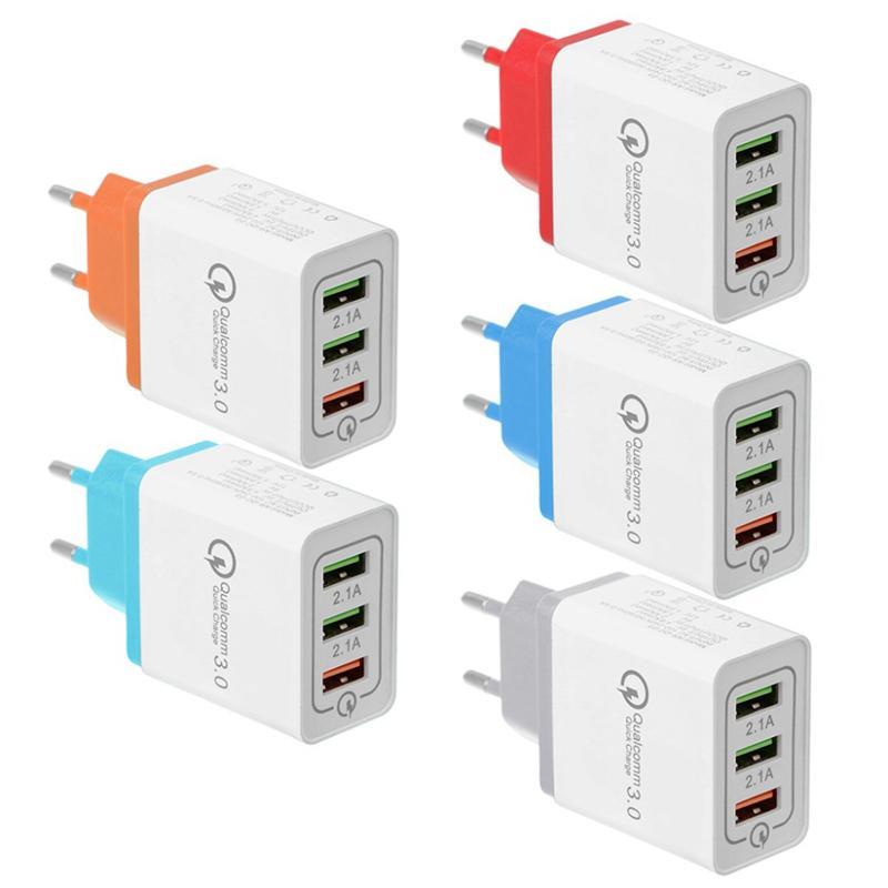 3 USB 어댑터 Q3.0 빠른 충전기 미국 EU 플러그 다채로운 벽 충전기 플러그 3 포트 2.1A - 스마트 핸드폰 DHL 무료 3.1A
