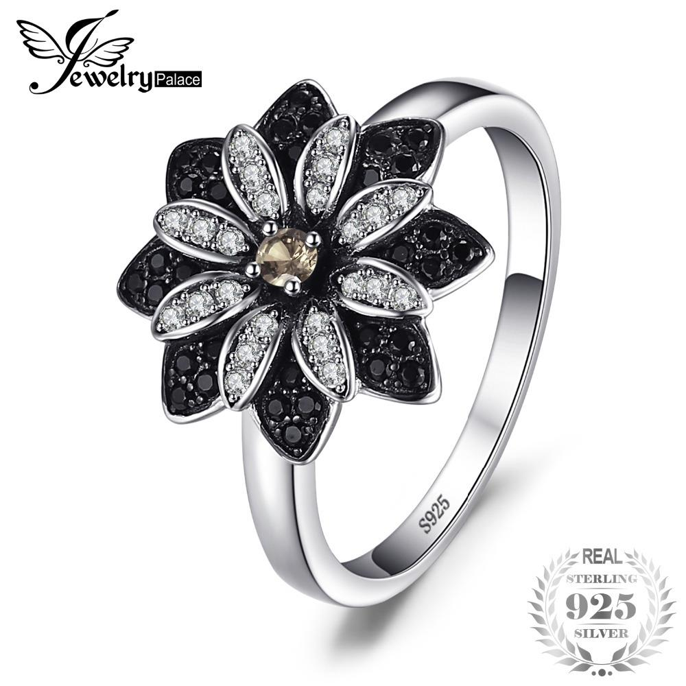 JewelryPalace Flower Natural Taupe Smoky Quartz Black Spinel Cocktail Ring 925 Sterling Silver New Trendy Fine Jewelry For Women S18101001