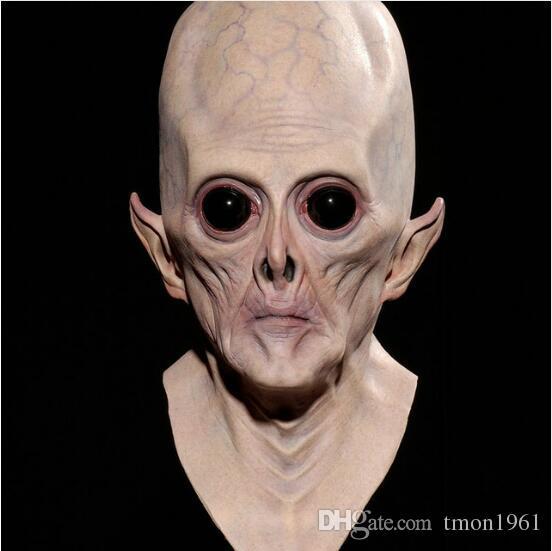 Assustador Máscara Facial de Silicone Realista Alienígena UFO Festa Extraterrestre Et Horror De Látex De Borracha Máscaras Completas Para Festa de Traje