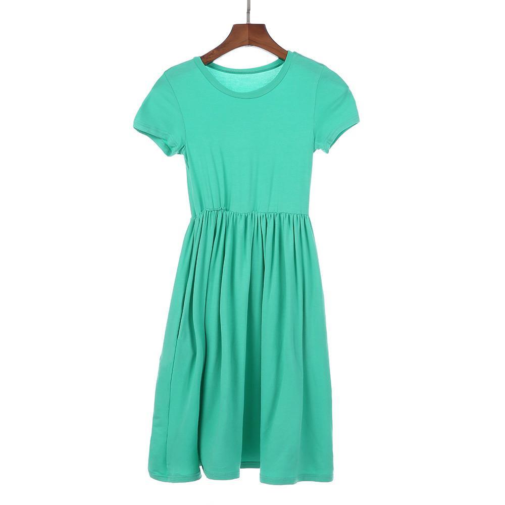 New Arrival Summer Girls Dresses Children Short Sleeves Soft Modal Long Maxi Beach Dress Fashion Kids Clothes
