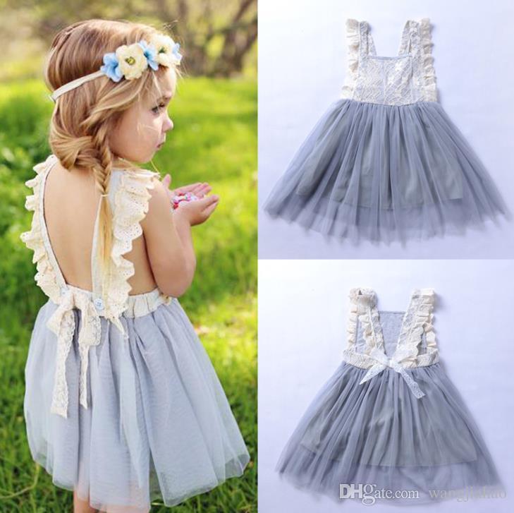 2018 Kid Summer Dress For Girl Lace Battesimo vestiti per la festa di compleanno Tulle Dress Little Princess Abiti ragazze bambini Abbigliamento