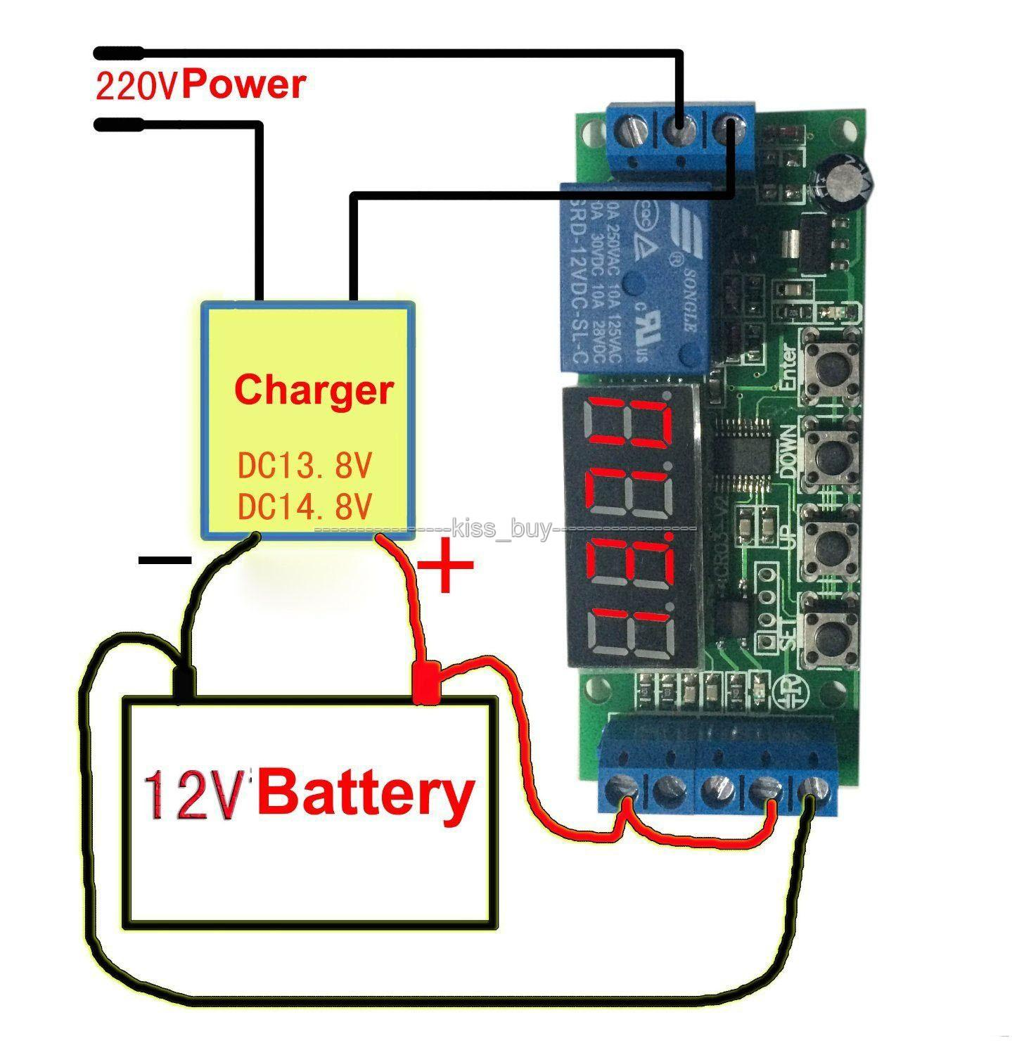 Freeshipping dc 12v Automatic Battery Charger Charging Controller Protection Board LED Display digital for car