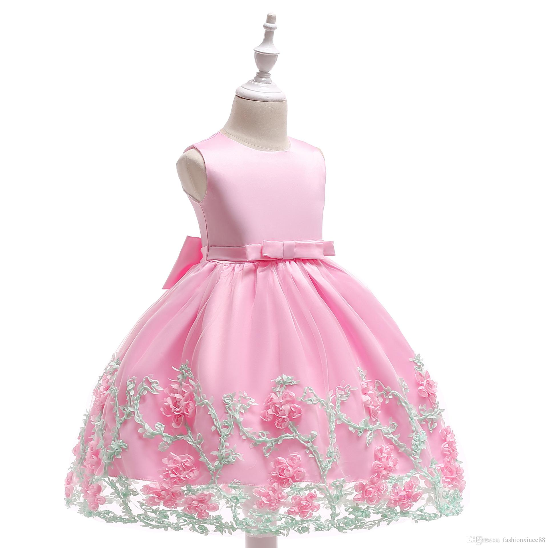 New Arrival Pink Tulle Pretty Flower Girl Dresses bling sequins Baby Girl Infant lace Dress Kids Formal Wear free shipping