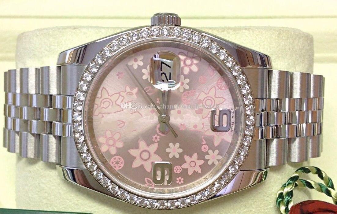 Top Quality Watches DateJust 36mm 116244 Rostfritt stål Armband Diamond Bezel Diamond Ring Rörelse Automatisk Mens Armbandsur