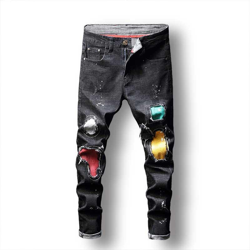 comprar baratas d8768 08677 Compre 2019 Hombres Pantalones Vaqueros Pintados Que Imprimen Parches  Apenados Pantalones De Mezclilla Pantalones De Lápiz De Moda Ocasionales ...