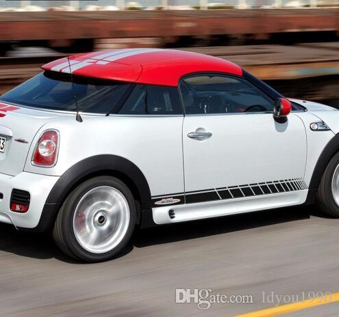 Pair of Black/Red JCW Side Skirt Door Racing Stripes Decal Sticker for MINI John Cooper Works R56 R57 R58 R59 F55 F56
