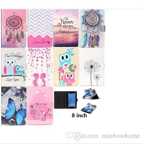 Dreamcatcher Owl Dandelion Universal Tablet Cover Case for 7inch 8inch Wallet Flip Stand Tablet Cover Case for Samsung Apple Tablet PC