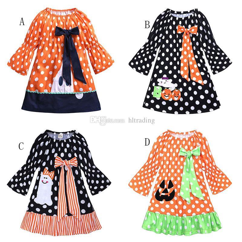 4 ألوان هالوين الطفلات شبح اليقطين اللباس الأطفال دوت طباعة القوس فساتين الأميرة 2018 الخريف الأزياء بوتيك الاطفال الملابس C4937