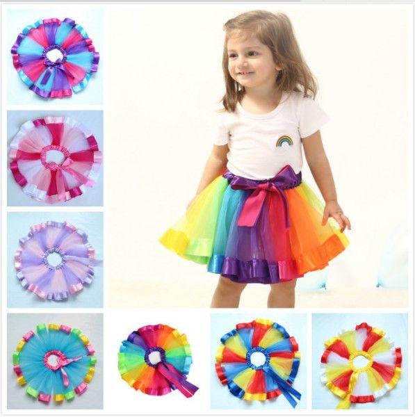 Mix 7 Colors Baby Girls Rainbow Net Tutu Skirts Kids Pettiskirt Dress with Bow dance skirt Halloween cosplay Children Clothing Clothes