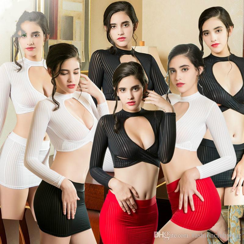Женщин Сексуальная юбка Set Sheer Striped Soft Fabric High Cut Bandage Мини-топы и юбка Экзотические платья Hot Porn Lingerie Multicolor