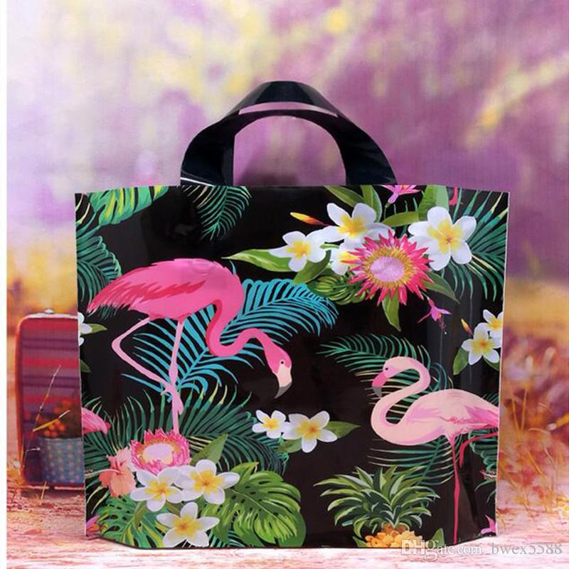 200 pcs Tamanho Grande Floral Grosso Belo Dia De Plástico Carry Bag Wedding Party Gift Bag Saco De Compras Livre Rápido DHL