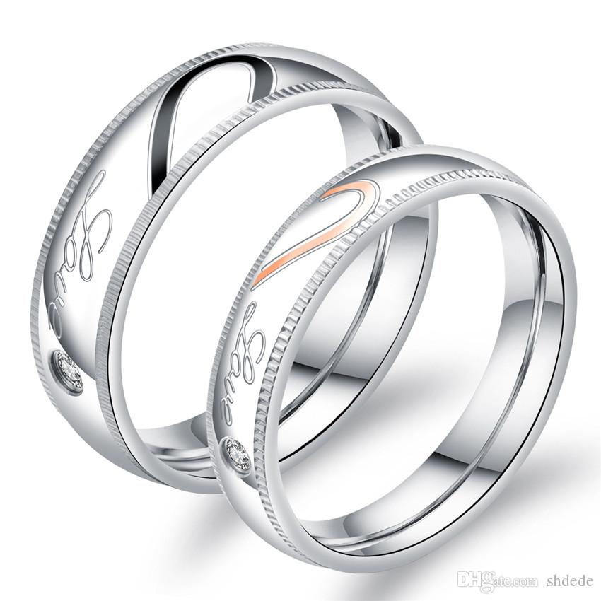 Los amantes de él y ella promete anillos de moda de joyería de moda Cubic Zirconia 316l anillo de pareja de acero inoxidable OR606
