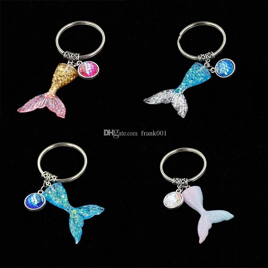 32 * 45 MM 인 어 꼬리 열쇠 고리 장식 조각 Fishtail 열쇠 고리 장식 펜 던 트 결혼식 파티 선물 키 체인 게스트 무료 배송