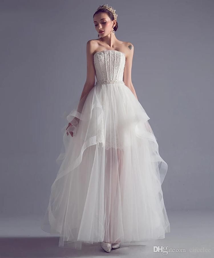 Fish Bone Shaping Thin Floor Length Wave Details Cascading Ruffles A Line Wedding All Color And Size