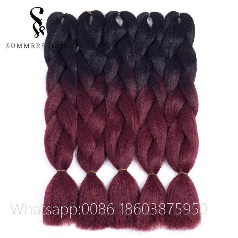 """Ombre Jumbo trenzas Hair Exonsion pelo sintético para ganchillo Kanekalon Xpression extensiones de cabello 10 paquetes 24 """"100g"""