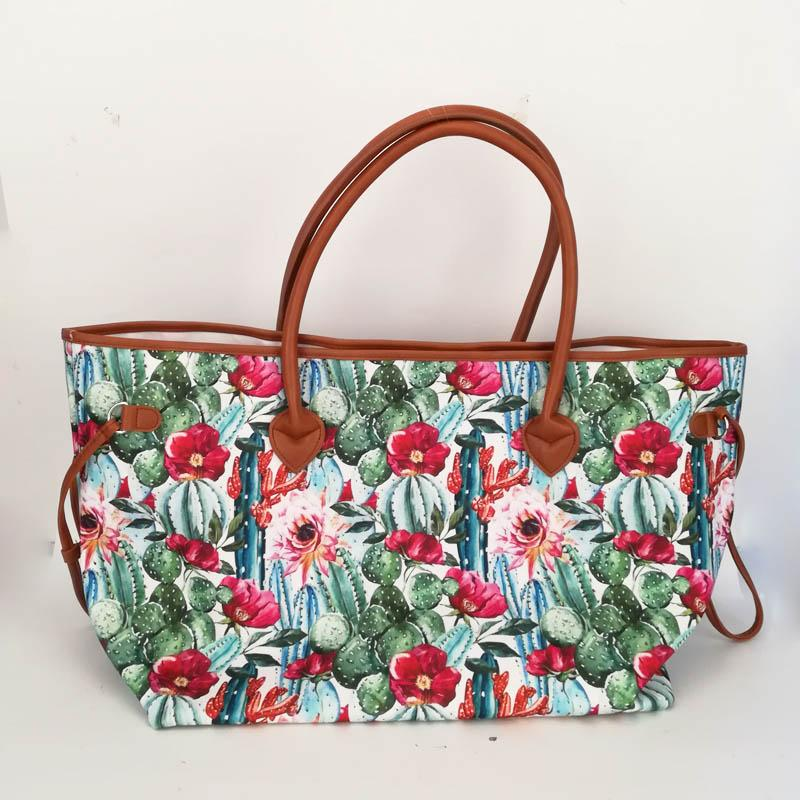 Wholesale Blanks Flower Cactus Tote Bag Aztec Print Canvas String Tote Large Shopping Bag Free Shipping DOM1061044