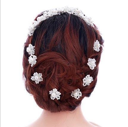 Bride U type Pearl Flower hairpin, handmade beads, head Flower Pearl Wedding headwear wedding gown