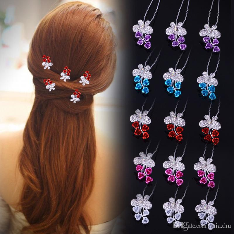 200PCS Mixed Colors Fashion Wedding Bridal Hair Jewelry Rose Butterfly Crystal Hair Pins Clips New 5 colors
