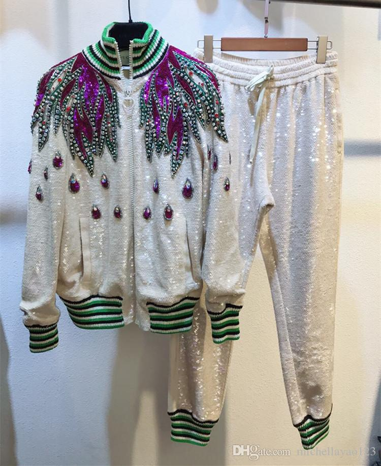 2018 White Stand Collar Long Sleeves Women's Jackets And Long Pants Feather Applique Sequins Crystals Designer 2 Pieces Sets Women 90705