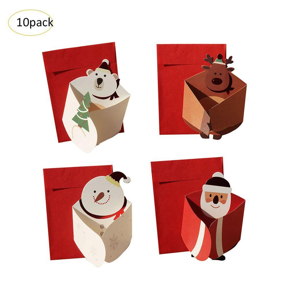 40 PCS Por Conjunto Versão Coreana Tridimensional Tri-fold cartão de Natal Boneco de Neve Elk Abraço Bênção Cartão de Presente