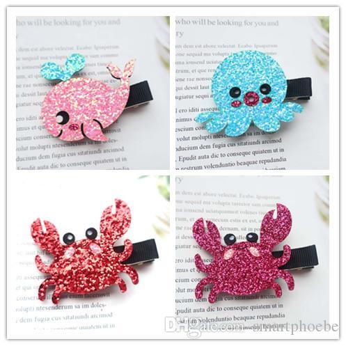 Boutique 20pcs Fashion Cute Glitter Whale Dolphin Crab Octopus Hairpins Cartoon Animal Hair Clips Princess Hair Accessories
