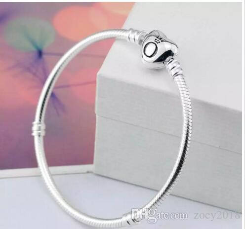 2018 marca originale 925 argento cuore catenaccio perline 3mm catena bracciali serpente adatto europeo Pandora cuore Charms bracciale gioielli moda fai da te