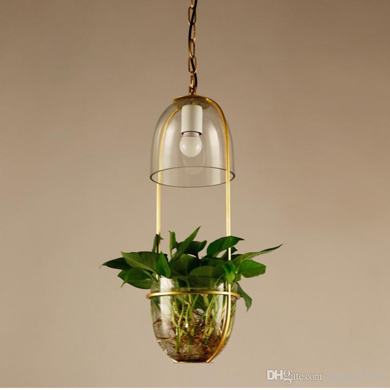 Garden flowers potted plants pendant lamps wrought iron glass pendant light bar restaurant balcony bar wrought iron glass G176