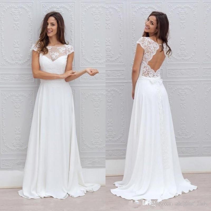 Robes de mariée de plage bohémiennes Illusion décolleté à mancherons Dos nu dentelle blanche et mousseline de soie fluide Sexy pas cher une ligne robes de mariée