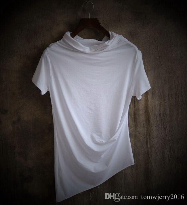 New Offbeat Moda Masculina Roupas Plus Size Masculino magro irregular pilha gola manga curta T-shirt Dos Homens Casual Tops Preto, branco