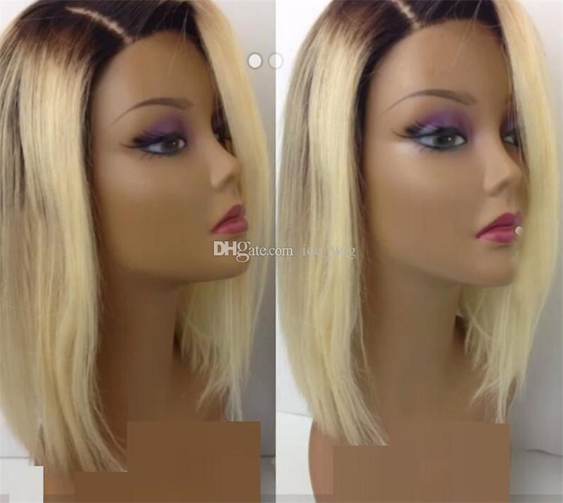 Ombre Blond Menschenhaarperücke Dunkel zu Honig Blond 1b / # 613 Voll und Weich Brasilianisches Haar Gebleichte Knoten Natürliches Haaransatz Babyhaar Rundherum