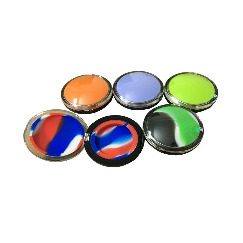 3 Pcs / lot Cheapest Silicone Case Dab Accessoires 6 Ml Mirror Silicone Concentré Conteneur Oil Slicks Pots