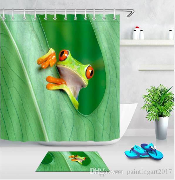 الكرتون فراشة الضفدع الأخضر يترك عالية الجودة نسيج حمام دش الستار صديقة للبيئة الستائر حصيرة مجموعة