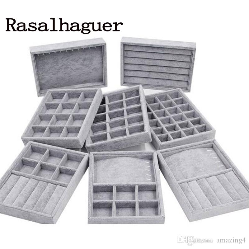 DIY Storages Trays Gray Soft Velvet Jewelry Packaging Display Jewelry Earrings Necklaces Pendants Bracelets Trays Holder Case Whoelase price