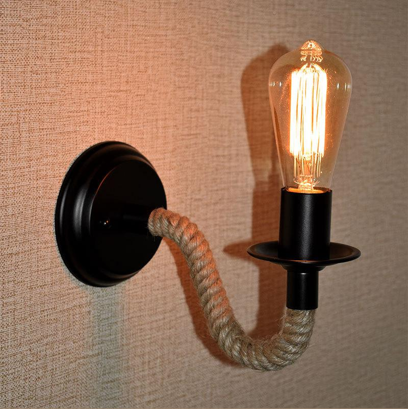Retro Industrial Lamp Vintage Hemp Rope LED Wall Light Loft Mounted Sconce Indoor Lighting Stairs Living Room Lamps