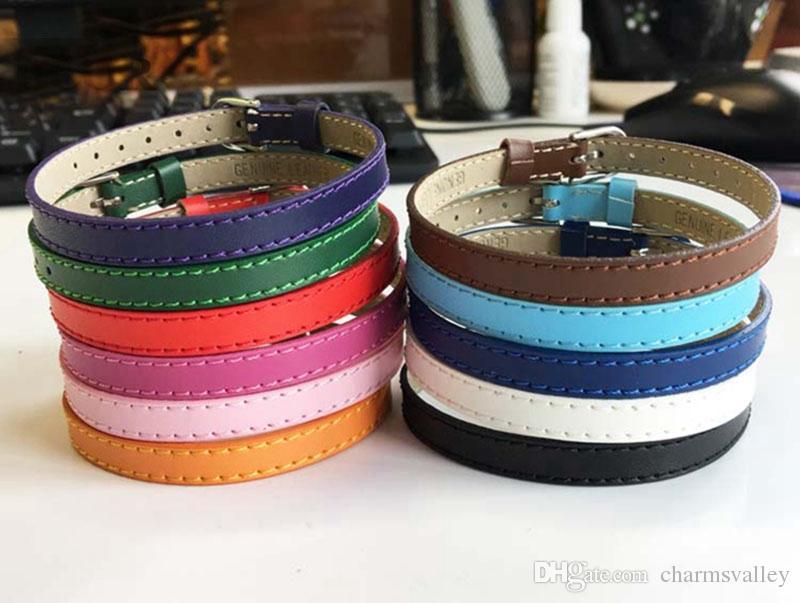 10 unids Pulseras de Color Mezclado 8mm * 230mm Pulseras Brazaletes de Cuero Genuino DIY Para 8mm Encantos de Diapositivas Letras de diapositivas