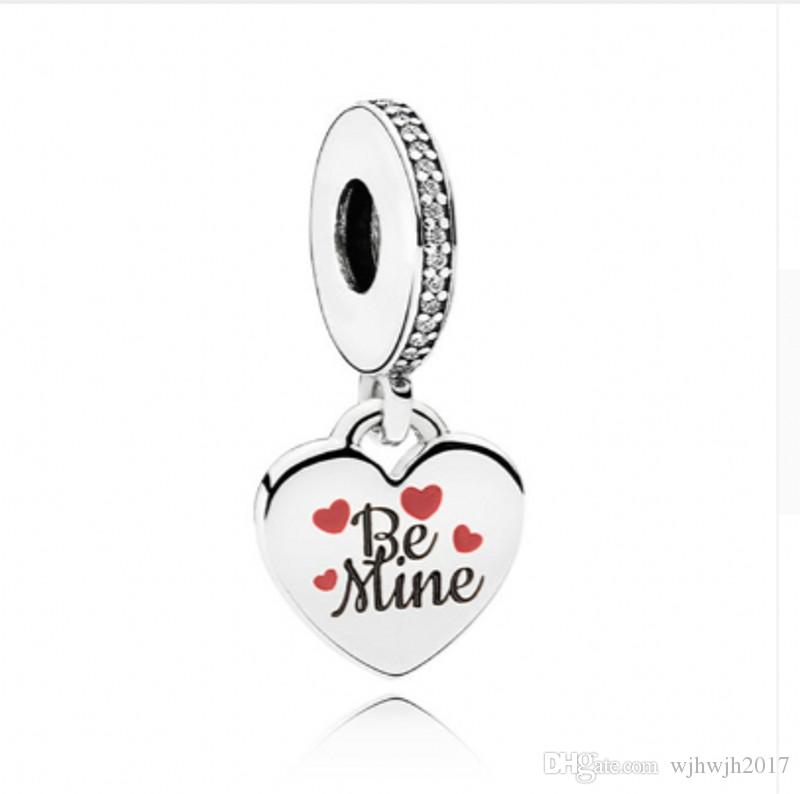 New Authentic 925 Sterling Silver Black Enamel Be Mine With Crystal Pendant Hanging Charm Beads Fit European Bracelet Bangle DIY Jewelry