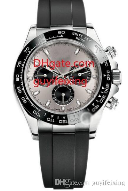 Hombres Correa de caucho Reloj deportivo 116519 Reloj de pulsera de lujo Reloj mecánico automático Oro blanco de 18K Bisel de cerámica Relojes para hombre sin cronógrafo