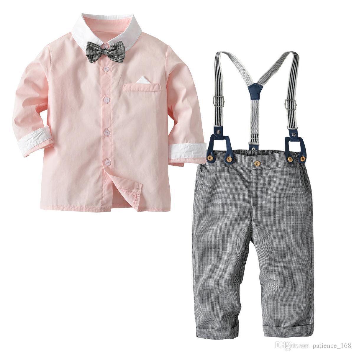 Conjuntos de niños 2018 Niños de bebé 4 piezas Conjuntos de algodón lindo rosa azul de manga larga camisa de corbata a cuadros + pantalones niños caballero Trajes de Navidad 2 colores