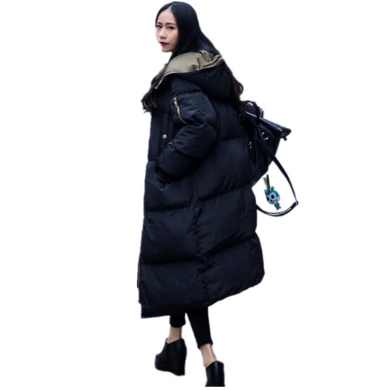 ALI TOPTINA CEKET KADıNLAR Ceket Pamuk-yastıklı Overknee Aşağı Pamuk Kadın Kalınlaşma Gevşek 2018 Kış Coat Yüksek Kalite Parka S18101203