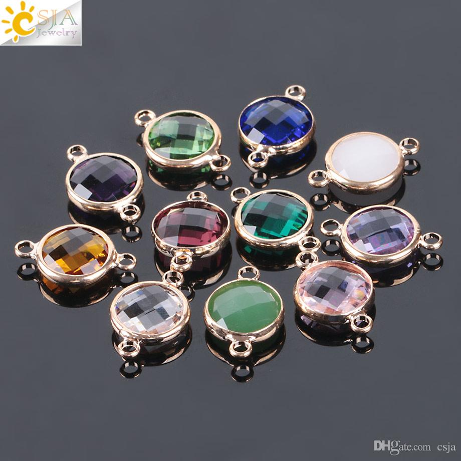 CSJA European Round Glass Crystal Beads for Lady DIY Handmade Jewelry Making Accessories Finding Gold Color Double Buckle Fast Shipping E883
