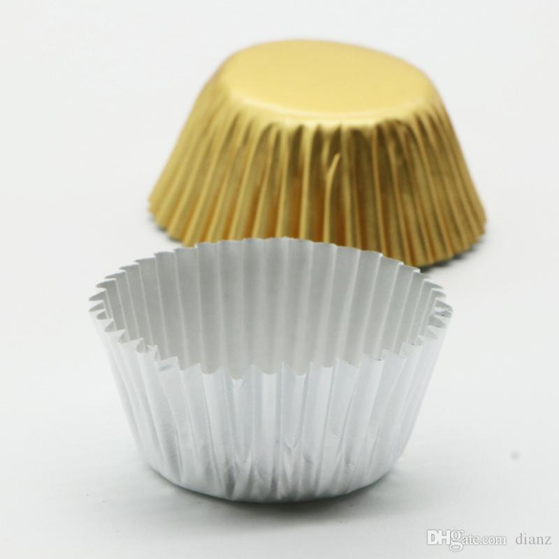 Hot Sale Gold Silver Foil Paper Cupcake Liners Pure Color Cup cake Wrappers Cake Decorating Tools Baking Cups
