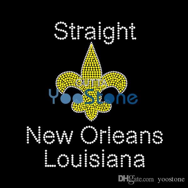 Transferência reta do Rhinestone da flor de lis de Nova Orleães Louisiana para o t-shirt
