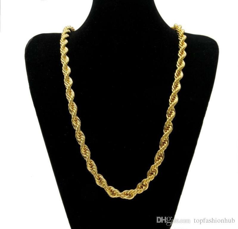 Sıcak Satış! 10mm Kalın 76 cm Uzun Halat Bükülmüş Zincir 24 K Altın Kaplama Hip Hop Mens Için Bükülmüş Ağır Kolye