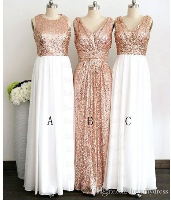 2018 Rose Gold Sequin Top White Chiffon Skirt Long Cheap Bridesmaids Dresses V neck Jewel Style Ruched For Wedding Country Prom Formal Dress
