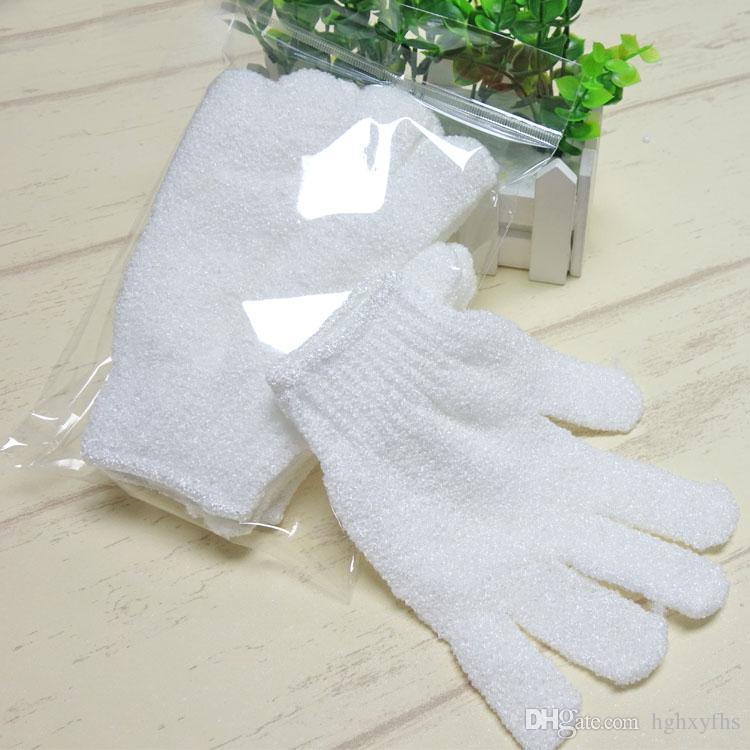 Color blanco Peeling Glove Scrubber Five Fingers Exfoliante Bronceado Baño Mitones Paddy Fibra suave Masaje limpiador de guantes de baño