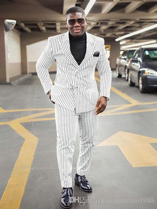 2018 pantalones blancos de la chaqueta que fuman solapa enarbolada traje de negocios cruzado a rayas breasted desgaste formal hombres trajes de la boda para hombre novio smoking