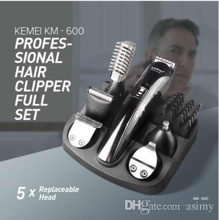 Горячая Kemei км-600 профессиональный триммер для волос 6 в 1 машинка для стрижки волос бритва наборы электробритва борода триммер для стрижки волос XJ