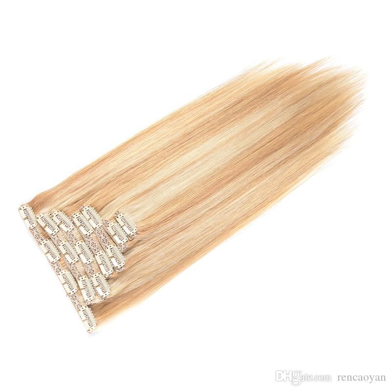 #P27/613 Clip In Human Hair Extensions Machine Made 8pcs/Set 100g Natural Hair Clip In Extension Human Hair Clip In Extensions