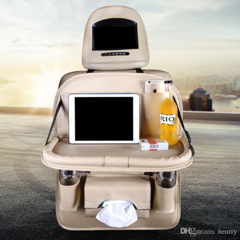Multifunción de la bandeja de automóvil de la bandeja de almacenamiento de bolsillo trasero colgando asiento trasero trasero Bandeja de almacenamiento con mesa de comedor