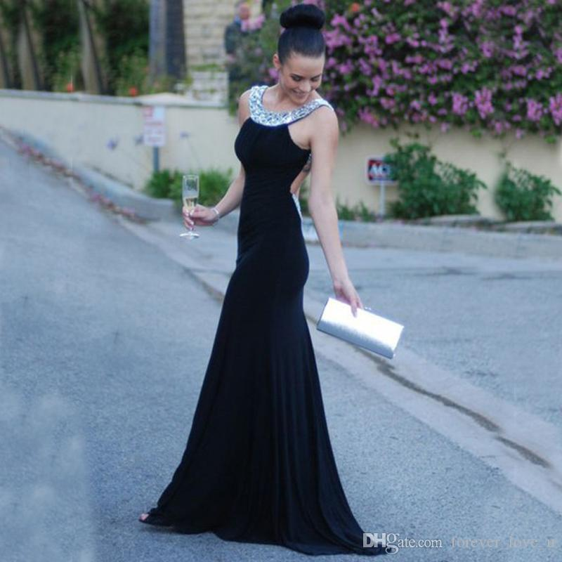 Sexy Backless Black Evening Dresses Fitted Sheath Column Scoop neck Open Back Luxury Crystals Long Formal Prom Party Gowns Custom Made